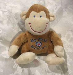 "8"" My First Monkey Baby Plush Stuffed Animal Heart Press for Sounds Noise Lovey | eBay"