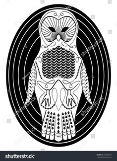 Stylized owl with patterned body surfaces, symmetric  bird drawing in white and black design on oval shape background, useful as tattoo template or club emblem