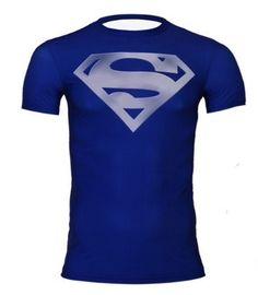 f9ca5a3060e81 SUPERMAN Superhero Lycra Compression Shirts M-XXL