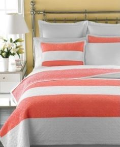 Coral striped bedding, again idea for master bedroom downstairs.