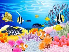 art vector underwater ocean sea color tropical coral reef wallpaper background