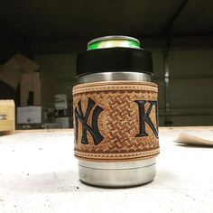 A koozie for a koozie? A bit of customization for my dad's birthday. #customleather #leather #handmade #prettythingsmakemehappy #yeticoozie