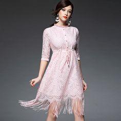 Cheap Suitish/Fulanqi DHL/Fedex Liberan el Envío 2016 de la Nueva Llegada Hook Hueco de La Flor Del Diseño de Cintura Alta de La Borla Del Dobladillo Puro Vestido de Encaje de Color, Compro Calidad Vestidos directamente de los surtidores de China: