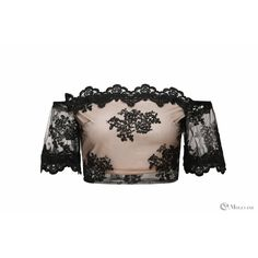 Ladies black lace off the shoulder crop top wholesale - clothing/tops/crop tops  | Moguland.com - Wholesale Women's Clothing