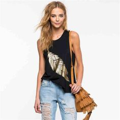 2017 Summer Leaves Pattern Print Tops Sleeveless Shirt Round Neck Sexy Fashion Black Top Plus Size Wholesale Suspenders #Affiliate