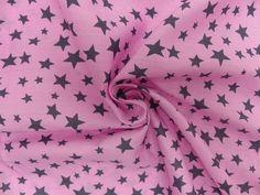 Meterware Baumwollstoff Druck Sterne  Stars rosa grau Dekostoff Kinderstoff