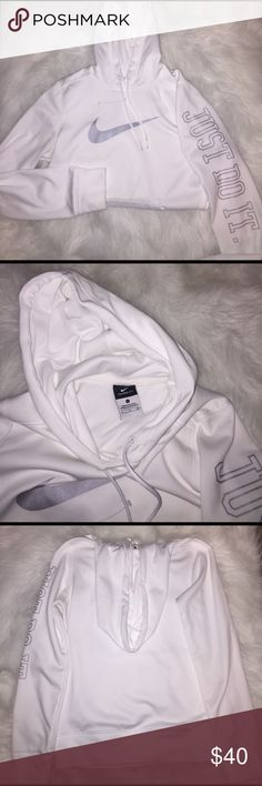 Nike White Nike hoodie. Women's small. There is a tiny needle size ink spot. Excellent condition with no signs of wash and wear other than that. Price final. Nike Sweaters