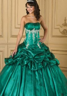 Ball Gown Strapless Floor-length Organza, Satin Quinceanera Dresses