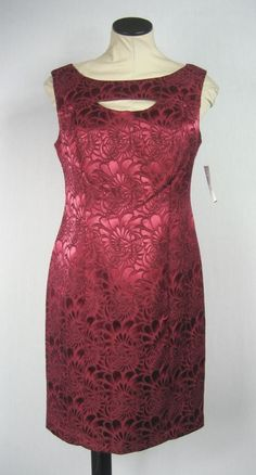 NWT Connected Apparel Burgundy Embroidered Floral Sheath Cocktail Dress Sz 6P | eBay