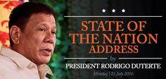 Watch President Rodrigo Duterte first ever State of the Nation (SONA) address at the Batasang Pambansa on Monday, July 25, 2016.