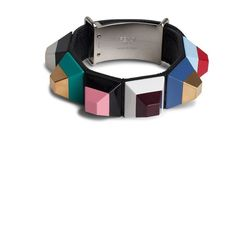 Fendi Rainbow Bracelet ($420) ❤ liked on Polyvore featuring jewelry, bracelets, colorful bangles, fendi bangle, studded jewelry, colorful jewelry and multicolor jewelry