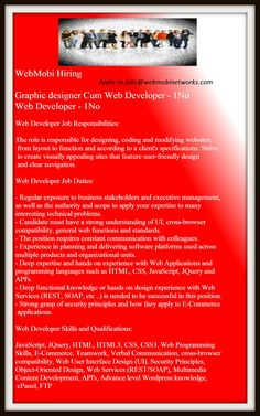 WebMobi Hiring Web Developer!