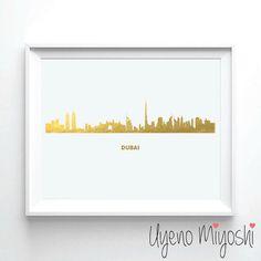 Dubai Skyline Gold Foil Print, Gold Print, Dubai United Arab Emirates City Skyline Gold Print, Illustration Art Print, Gold Foil Art Print  - These