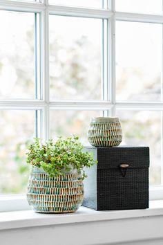 Green/blue pottery - bamboo box.