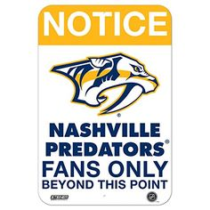 Nashville Predators Fans Only 8 Inch X 12 Inch Aluminum Sign *** Details can be found by clicking on the image.