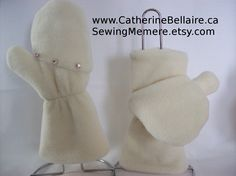 $35.00 Fingerless gloves mittens w covers polar fleece hand sewn jewels handcrafted http://www.CatherineBellaire.ca SewingMemere.etsy.com
