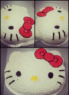 My first hello kitty cake piped with the  #16 #3 #7 tips