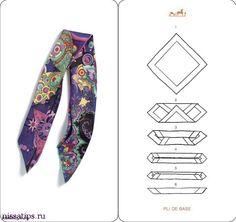 How To Tie A Scarf - Hermès Scarf Knotting Cards Vol.4 - Pli de Base