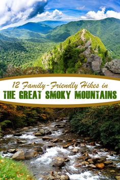 12 Family-friendly Hikes in The Great Smoky Mountains - Tennessee hiking bucket list, camping tips and tricks, hiking in winter Great Smoky Mountains, Smoky Mountains Hiking, Smoky Mountains Tennessee, Mountain Hiking, Appalachian Mountains, Smoky Mountain Vacations, Lookout Mountain, Vacation Ideas, Vacation Spots