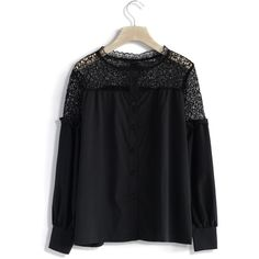 Chicwish Puff Sleeves Lace Shoulder Top in Black ($36) ❤ liked on Polyvore featuring tops, blouses, black, lace blouse, see through blouse, crochet blouse, crochet lace blouse and black top