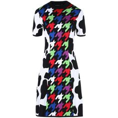 Boutique Moschino Short Dress ($445) ❤ liked on Polyvore featuring dresses, black, multi color mini dress, short sleeve dress, colorful print dresses, print dress and multicolor dresses