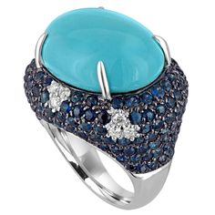 Turquoise Sapphire and Diamond Ring
