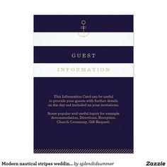 Modern nautical stripes wedding information card 13 cm x 18 cm invitation card