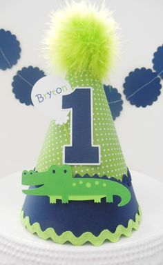 Lil Alligator Under the Sea Birthday Party Hat - Green and Navy Blue - Sea Animals - Personalized
