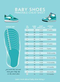 baby shoe sizes (printable infographic)
