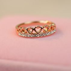New Fashion Crown Shape Crystal Alloy Plated 18K Rose Gold Women's Ring