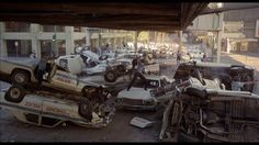 Police car pile-up at La Salle and Lake Streets for The Blues Brothers filming, 1979.