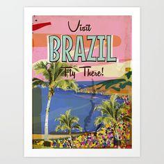 Brazil vintage Travel poster - Brazilian Vintage Vacation Poster, Old travel poster. Brazil - Rio Vacation poster. Rio De Janeiro Vacation poster. <br/> <br/> Classic Retro Brazil Vacation poster.