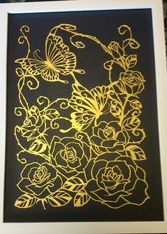 バラと蝶ver.2 ゴールド色 原画