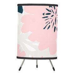 Abstract Pastel Creativity Floral Pink Pattern Tripod Lamp - diy cyo & personalize