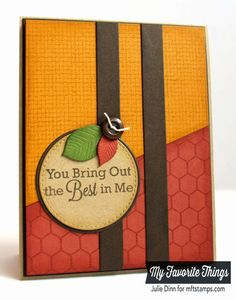 handmade card ... You Bring Out the Best in Me Card by Kreative Jewels ... luv the rich hues of Fall color palette ... great pairing of burlap background and mini chicken wire background stamps texturing the divided  background panel ... wonderful card!