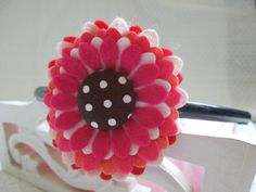Wool Blend Felt flower Headband in pinks and blushes on Etsy, $14.90