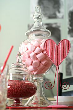 Valentines-- candy in apothecary jars.