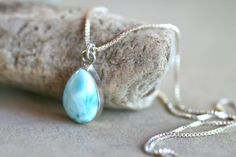 Blue Larimar Sterling Silver Teardrop Pendant Necklace by MindyG, $68.00