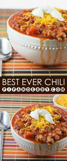 This is the BEST chili recipe ever! You need not look any further for the perfect fall/winter dinner. Great in a crockpot or on the stove!