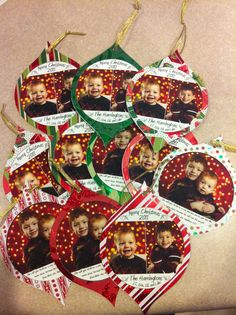 Our Christmas card. Cricut ornament cut outs with pictures in the middle.