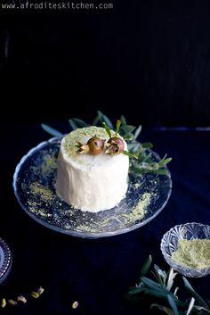 """Baklava"" Inspired Cake aka Orange Blossom & Pistachio Cake | Afrodite's Kitchen Sweet Desserts, Just Desserts, Dessert Recipes, Cyprus Food, Pistachio Cake, Greek Dishes, Cake Flavors, Orange Blossom, Cream Cake"