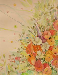 3 jazmines / 3 gardenias 50 x 70 cm watercolor by Kira Mamontova. Gardenias, Watercolors, Drawings, Painting, Art, Water Colors, Art Background, Painting Art, Kunst