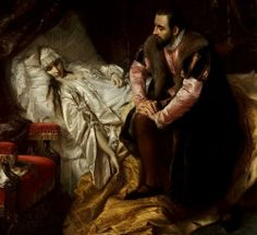 """Death of Barbara Radziwillowna"" (1860) by Józef Simmler (Polish,1823-1868) oil on canvas, 205 x 234 cm, National Museum, Warsaw."