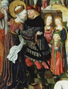Johann von der Leyten:: Ludwig bricht zum Kreuzzug auf und verabschiedet sich von Frau und Kindern, 1510, Detail aus dem rechten Flügel des Elisabethaltars in der Elisabethkirche in Marburg