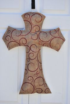 Natural Burlap Cross Door hanger by AllUniqueThings on Etsy, $22.00