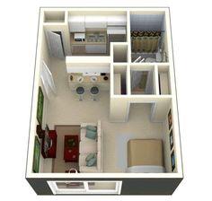 Small studio apartment layout design ideas - home desig Studio Apartment Floor Plans, Studio Apartment Layout, Studio Apartments, Cool Apartments, Apartment Interior, Apartment Design, Apartment Ideas, Apartment Living, Bedroom Apartment