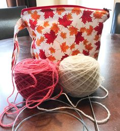 I'm getting ready to cast on a Canadian-inspired design.  Red and white yarn from @knitleyroad  maple leaf  project bag by @artbyana  I'm good to go!
