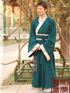Men's Green Straight hem robe Shang Dynasty Hanfu Clothing