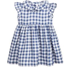 Il Gufo Navy Blue Check Linen Dress at Childrensalon.com