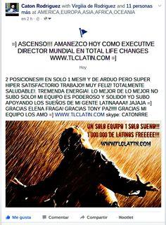 MI SEMANA EMPIEZA HOY COMO EXECUTIVE DIRECTOR DE TOTAL LIFE CHANGES!! MI NEGOCIO NUNCA PARA!! TE QUIERO AQUÍ!! A TODOS LOS QUE SUENAN EN UN CAMBIO DE VIDA TOTAL!! WWW.TLCLATIN.COM